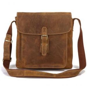 Brown Leather Messenger Bag /Brown ..