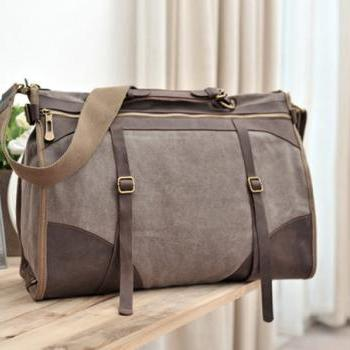 Coffee Canvas Bag Leather Canvas Messenger bag Canvas Cross-body bag Hangbag