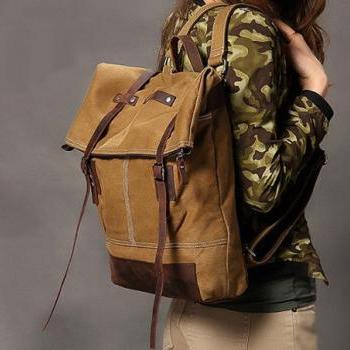 Khaki Canva Backpacks Canvas-Leather Backpacks School Backpack