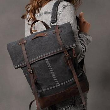 Black- Gray Canva Backpacks Canvas-Leather Backpacks School Backpack