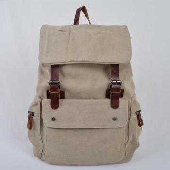 Gift -White Canvas Bag, Leather-Canvas Backpacks , Canvas Backpacks, Student Canvas Backpack, Leisure Canvas backpack