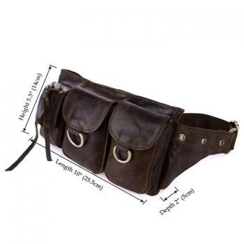 Dark Brown Leather Waist Bag, Fashion Unisex Pack, Portable bag