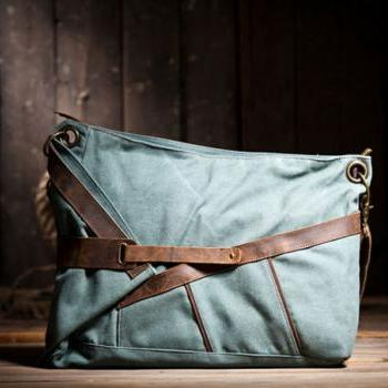 Gift - Blue Canvas Bag Canvas Messenger Bag Canvas Cross-body Bag----M/L